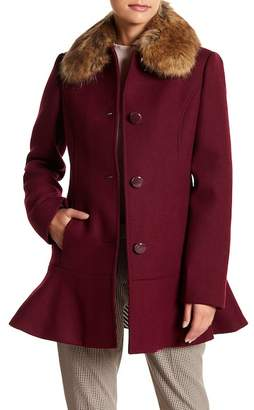 Kate Spade Faux Fur Collar Wool Blend Flounce Coat