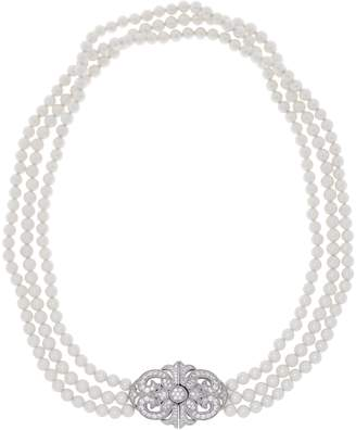 Diamonique TOVA for and Simulated Pearl Necklace, Sterling