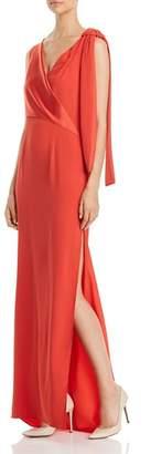 Paule Ka Shoulder Tie Satin-Detail Gown