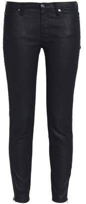 7 For All Mankind Coated Low-Rise Skinny Jeans