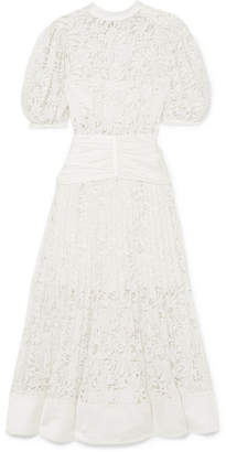 Self-Portrait Satin-paneled Lace Midi Dress - Cream