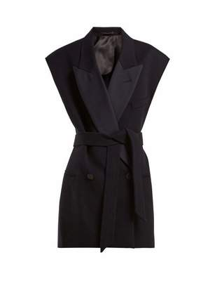Raey Raw Edge Sleeveless Wool Twill Jacket - Womens - Navy