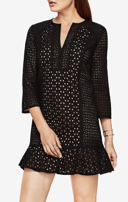 BCBGMAXAZRIA Sofee Cotton Eyelet Tunic Dress