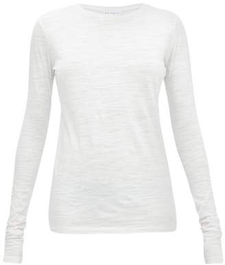 Raey Long Sleeved Slubby Cotton Jersey T Shirt - Womens - White