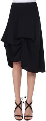 Akris Silk Georgette Bustle A-Line Skirt, Black