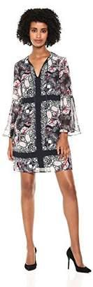 Vince Camuto Women's Patterned Chiffon Bell Sleeve Dress