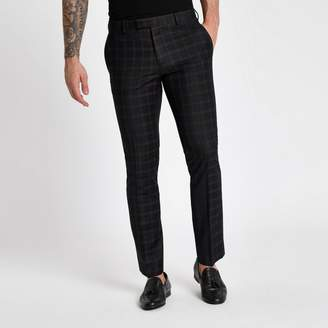 River Island Mens Black and burgundy check skinny suit trousers