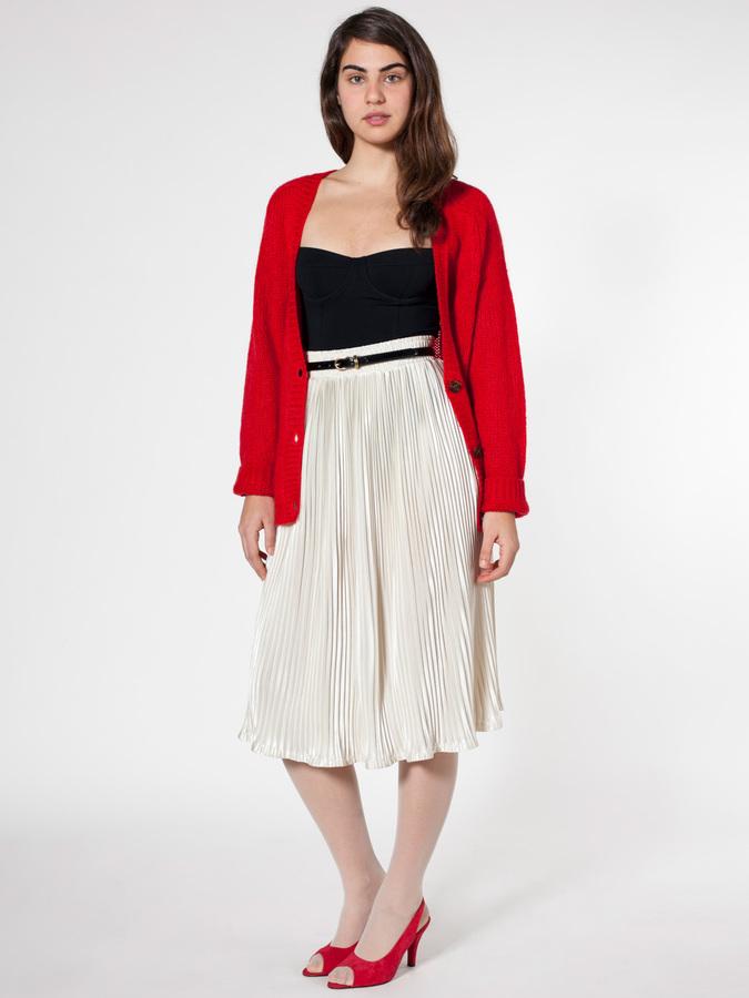 American Apparel Mid-Length Accordion-Pleat Skirt