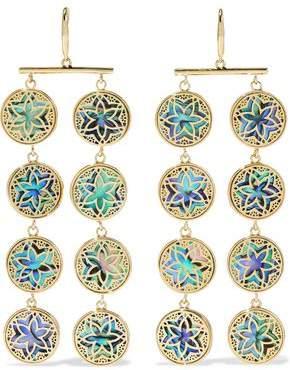 Noir 14-Karat Gold-Plated Iridescent Resin Earrings