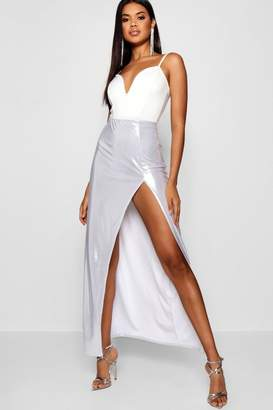 boohoo Extreme Thigh Split Metallic Maxi Skirt