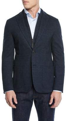 Corneliani Men's Knit Prince of Wales Blazer