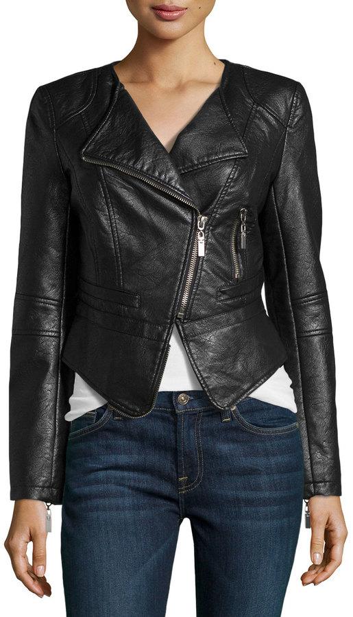 Raison D'etre Asymmetric-Zip Faux Leather Jacket, Black