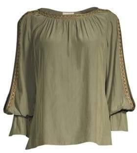 Ramy Brook Clara Embellished Slit Sleeve Top