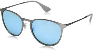 Ray-Ban Mirrored Erika RB3539-9015B4-54 Silver Oval Sunglasses