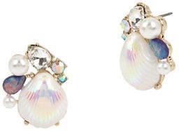 Betsey Johnson Sealife Crystal Seashell Stud Earrings