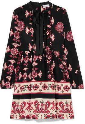 RED Valentino Pussy-bow Floral-print Silk Mini Dress - Black