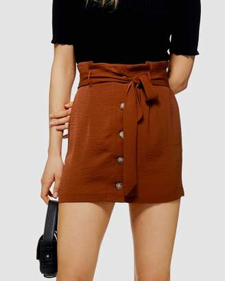 Topshop Paperbag Linen-Look Mini Skirt