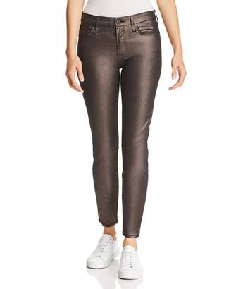 7 For All Mankind Shine Ankle Skinny Jeans in Gunmetal