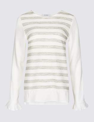 Marks and Spencer Striped Round Neck Long Sleeve Tunic