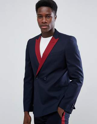 Asos DESIGN Skinny Double Breasted Suit Jacket In Navy With Wine Lapel