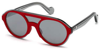 Moncler Rounded Shield Mirrored Sunglasses