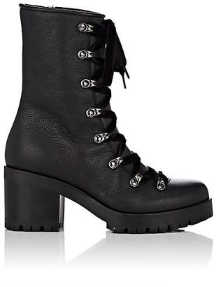 Barneys New York Women's Grained Leather & Shearling Lace-Up Ankle Boots - Black