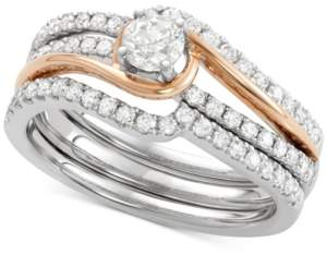Macy's Diamond Two-Tone Enhancer Bridal Set (7/8 ct. t.w.) in 14k White and Rose Gold