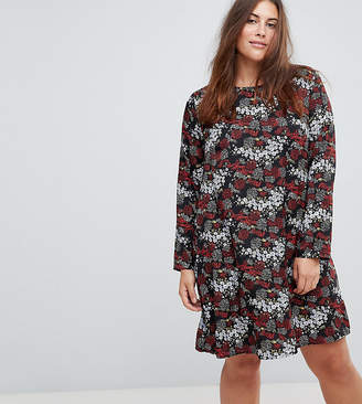 Glamorous Curve Long Sleeve Swing Dress In Antique Floral