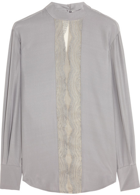Lover Lace-trimmed silk blouse
