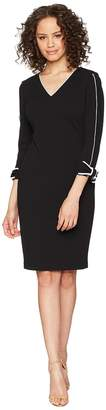 Calvin Klein Long Sleeve with Tie Cuff and Piping Detail Sheath Dress CD8C14LN Women's Dress