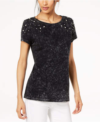 INC International Concepts I.n.c. Cotton Faux-Pearl-Embellished T-Shirt, Created for Macy's