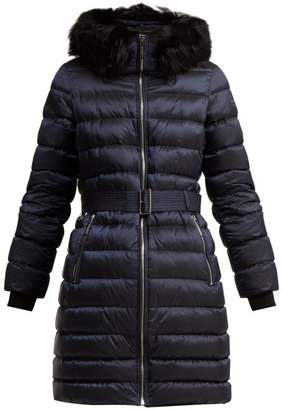 Burberry Limehouse Shearling Trim Padded Coat - Womens - Navy