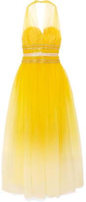 Naeem Khan Embellished Tulle Halterneck Gown - Yellow