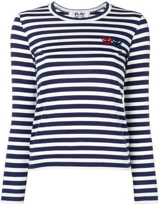 Comme des Garcons double-heart logo striped T-shirt