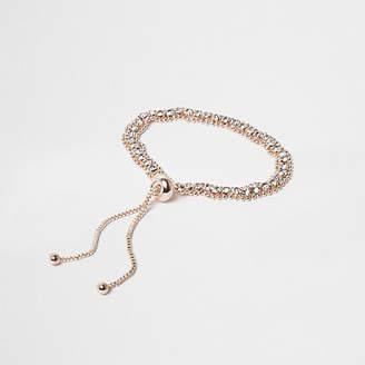 River Island Rose gold tone rhinestone lariat bracelet