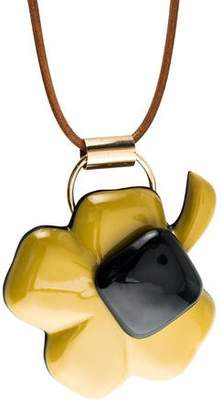 Marni Horn & Resin Clover Pendant Necklace