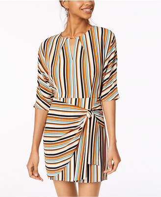 Emerald Sundae Juniors' Striped Tie-Side Wrap Dress