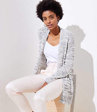 LOFT Marled Belted Open Cardigan