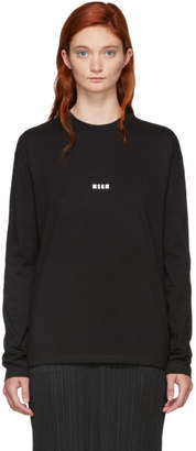 MSGM Black Long Sleeve Mini Logo T-Shirt