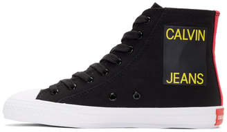 Calvin Klein Black Canvas Canter High-Top Sneakers