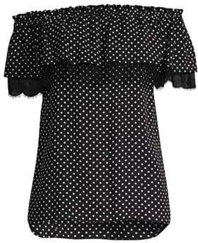 Michael Kors Off-The-Shoulder Polka-Dot Silk Blouse