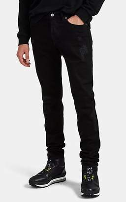 Givenchy Men's Flame-Motif Distressed Skinny Jeans - Black