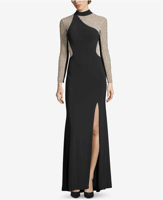 Xscape Evenings Embellished Illusion Turtleneck Gown