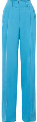 Etro Satin-crepe Wide-leg Pants - Blue