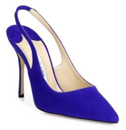 Manolo Blahnik Aziamo Suede Point Toe Slingbacks $725 thestylecure.com