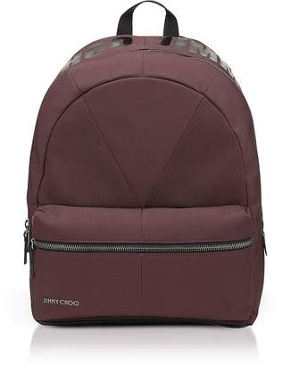 Jimmy Choo Reed Burgundy Canvas and Woven Nylon Backpack