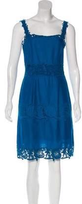 Philosophy di Alberta Ferretti Floral Appliqué-Accented Knee-Length Dress