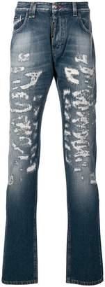 Philipp Plein distressed straight jeans