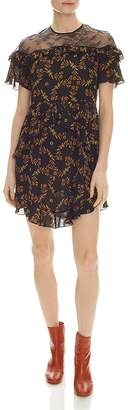 Sandro Alderic Ruffled Floral-Print Mini Dress