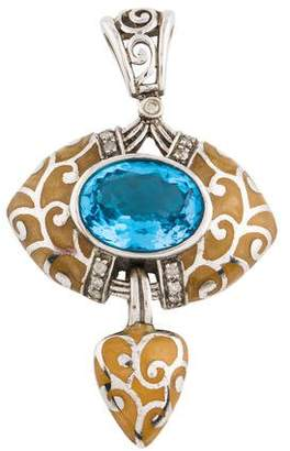 Angélique de Paris Blue Topaz, Diamond & Resin Pendant